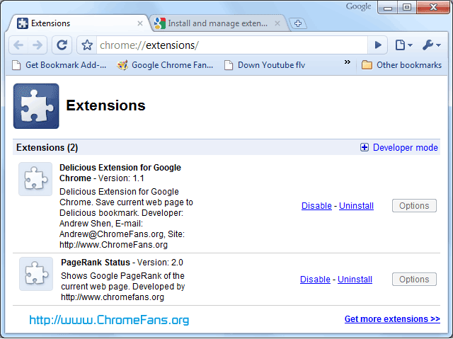 Screenshot: manager your Chrome Extensions