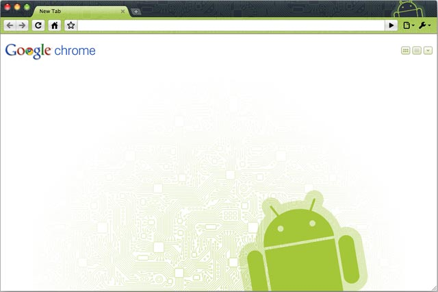 The screenshot of Android Robot theme for Google Chrome