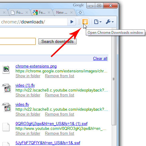 The screenshot of Chrome Downloads Extension