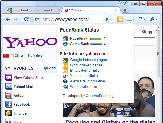 The screenshot of  PageRanks Status Extension for Google Chrome