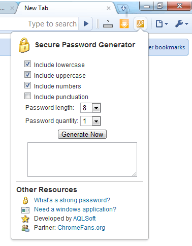 Screenshot: Secure Password Generator