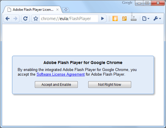 Enable Adobe Flash Player for Google Chrome