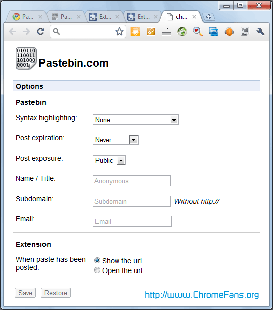 PasteBin extension: Quickly paste any type of text to the