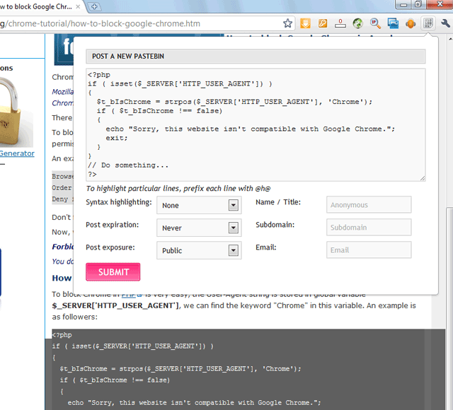Screenshot: PasteBin Extension