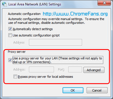 Google Chrome Proxy Server settings: Use a proxy server for your LAN