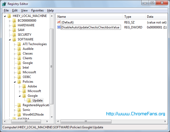 Screenshot: Launch Windows Registry Editor