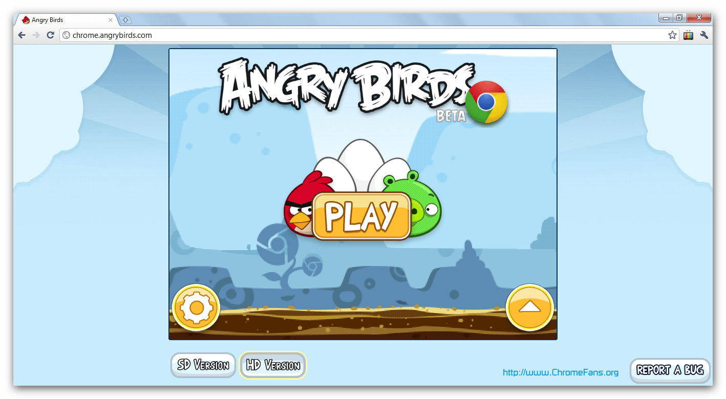 Screenshot: Angry Birds Game on Chrome. Click for larger view