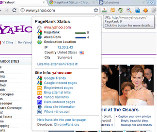 Screenshot: Pagerank Status for Google Chrome