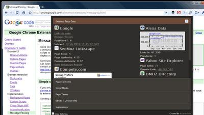 Screenshot: SEO Site Tools for Google Chrome