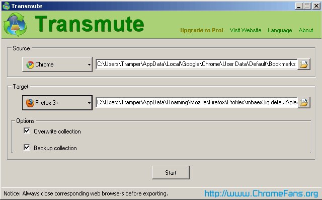 Screenshot: Use Transmute to sync the bookmarks