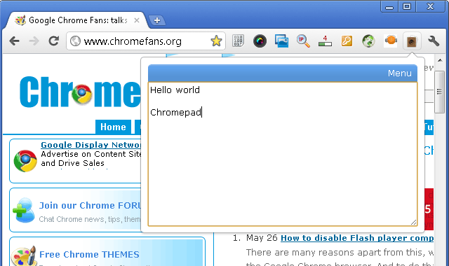 Screenshot: Chromepad Extension
