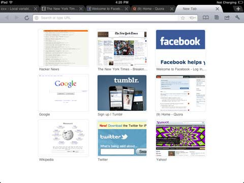 Screenshot: iChromy - Chrome Style Web Browser