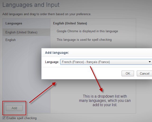 Screenshot: Add Language in Chrome browser