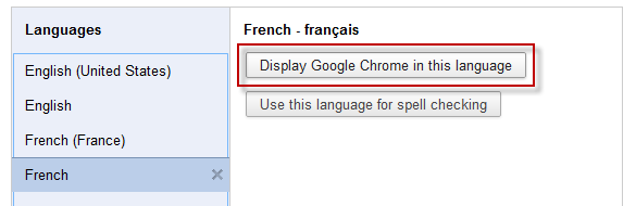 Screenshot: Display Google Chrome in this language