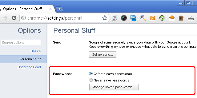 Screenshot: How to delete saved password from Google Chrome