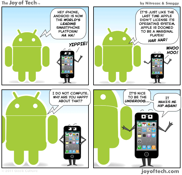 Comic: iPhone's cool with Android being number 1.