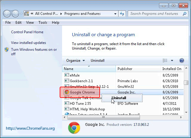 How to repair my Google Chrome: Uninstall Google Chrome