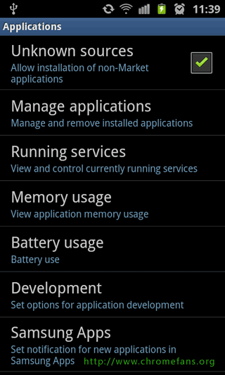 Screenshot: Root Samsung Galaxy S2 GT i9100, Enable Unknown sources