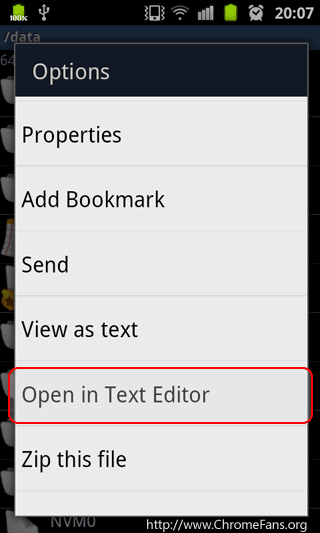 Screenshot: [Disable the camera sounds on I9100] Open local.prop in Text Editor