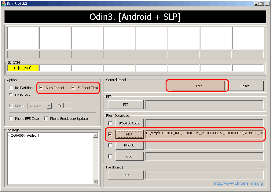 [Click for large preview] Screenshot: Launch Odin3 v1.83, start the process of firmware update of Samsung Galaxy S2