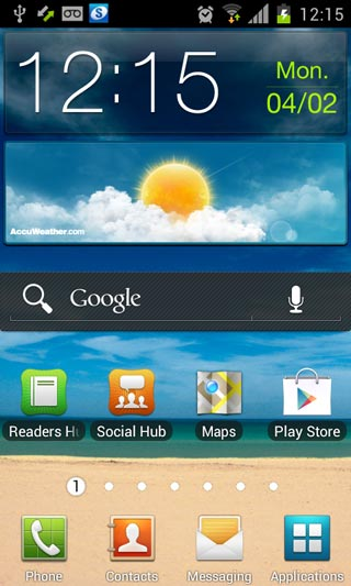 Screenshot: Samsung Galaxy S2 i9100 with Android 4.0.3 ICS