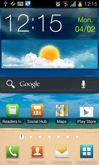 Screenshot: Samsung Galaxy S2 i9100 with Android 4.0.3 ICS