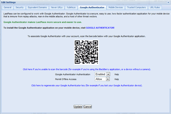 Setting up LastPass with Google Authenticator