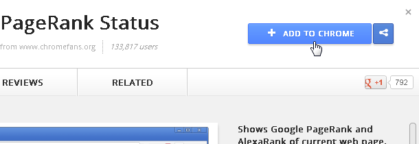 Screenshot: Click ADD TO CHROME button to install PageRank Status on Chrome Web Store