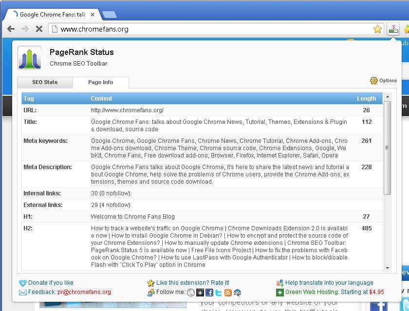 Screenshot: Analyze Meta Tags in Google Chrome
