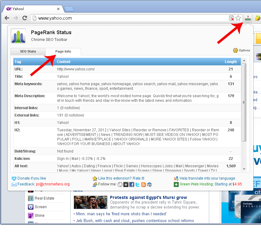 Screenshot: Check the meta tags of yahoo home page in Chrome