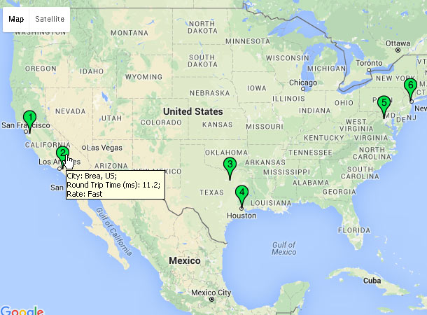 Screenshot: Web-based ping to www.yahoo.com and shows the ping results on Google Map