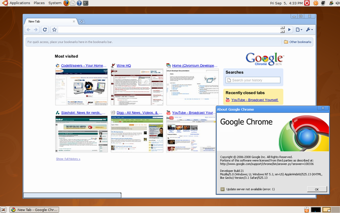 The screenshot: CrossOver Chromium on Ubuntu Linux