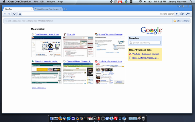 The screenshot: CrossOver Chromium on Mac OS X
