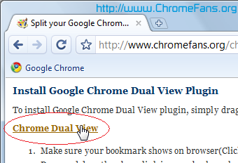 install Google Chrome Dual View plugin