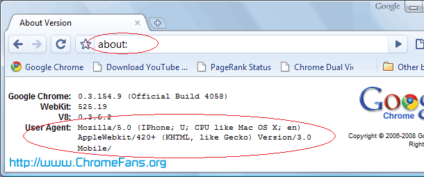 Confirm Google Chrome User-agent