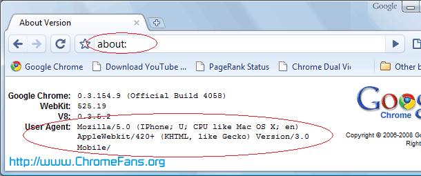 Confirm Google Chrome User-agent