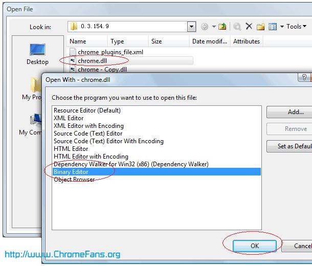 Open chrome.dll in Microsoft Visual Studio 2005