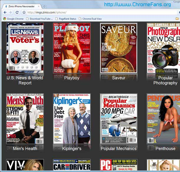 Read the popular magazines for free in Google Chrome