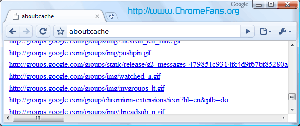 Google About Page - about:cache