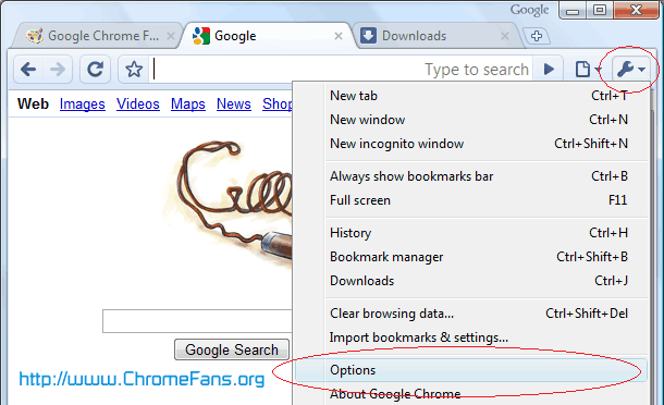 Google Chrome Tools Menu