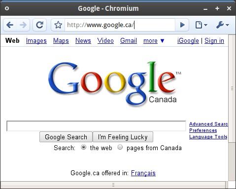 The screenshots of Pre–Alpha Build Chromium for Linux
