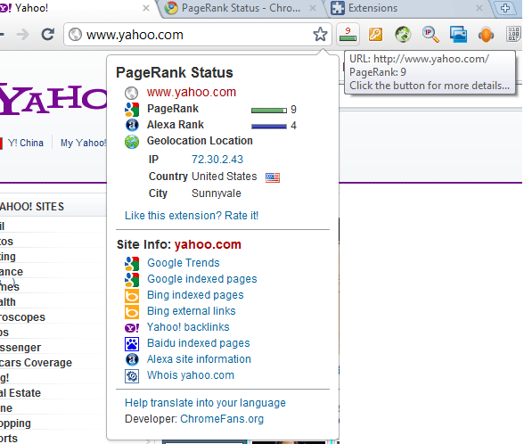 The screenshot of  PageRanks Status 4 for Google Chrome