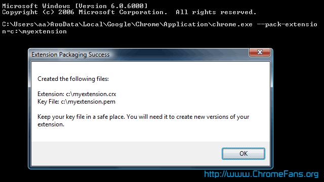 Screenshot: Package Google Chrome extension