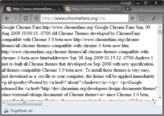 Google Chrome without XML Tree extension