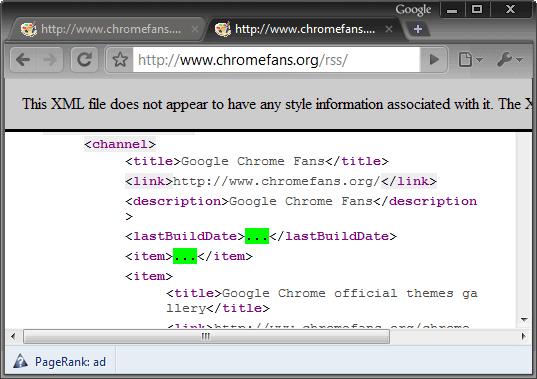 Google Chrome with XML Tree extension