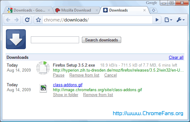 Screenshot: Chrome Download Page