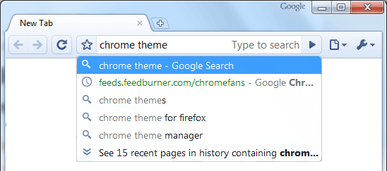 Screenshot of Chrome Omnibox: Search the web