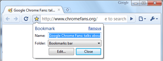 Screenshot of Chrome Omnibox: Create a bookmark