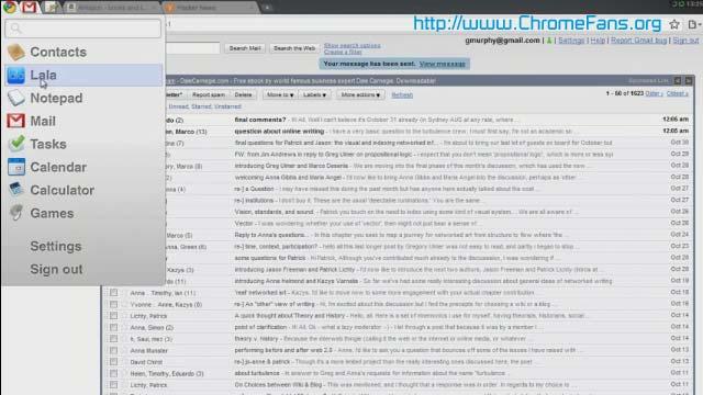 Screenshot: The application menu of Chrome OS