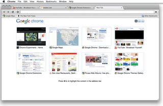 Screenshot: Google Chrome for Mac, on the New Tab page